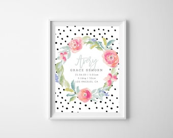 Printable - The 'Avery' Wreath Floral Birth Announcement Poster   Gift   Nursery Art   Wall Art