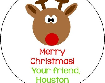 Personalized Merry Christmas Reindeer Round Stickers- Gift Sticker, Christmas Sticker, Christmas Label, Christmas Party, Address