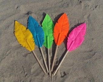 Set of Five Felt Quill FAUNA Pencil Toppers, Vegan