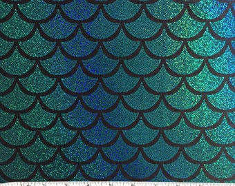 TURQUOISE SCALE Mermaid Sparkle Nylon Spandex Fabric, Athletic Fabric, Legging Fabric, Swimwear Fabric BTY By The Yard