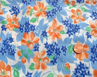 Vintage Feedsack Fabric 1930's 1940's Blue Orange Floral Cotton Quilt Patchwork