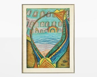 freidereich hundertwasser 1970 museum poster, freidereich hundertwasser der untergang venedigs 1964, german art poster, hundertwasser poster