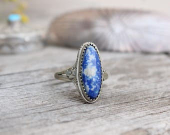 Vintage 1960's Sterling Silver Hand Stamped Sawtooth Bezel Sodalite Ring sz 9