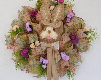 Easter Wreath-Bunny Wreath-Spring Wreath-Easter Bunny Wreath-Rabbit Wreath-Spring Wreath Front Door-Deco Mesh Wreath-Ready to Ship