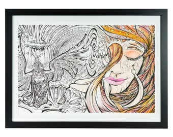 Psychedelic Discovery Girl Art Print