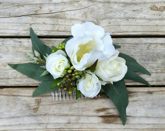 White Flower Hair Comb featuring silk roses lisianthus eucalyptus rustic bridal hair clip