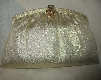 Vintage H.L. gold lame clutch