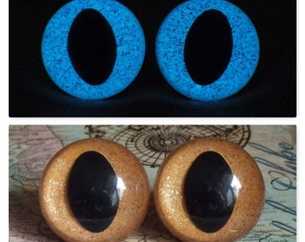 24mm Glow In The Dark Cat Eyes, Golden Brown Glitter Safety Eyes With Blue Glow, 1 Pair of Plastic Safety Eyes