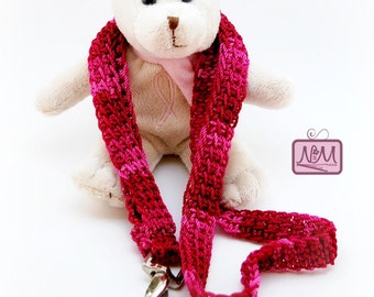 Crochet Woven Lanyard ID Badge Holder, Pink Colour, Breast Cancer Gifts, Clip, Crochet Keychain, Gifts For Her, Accessories, Valentine