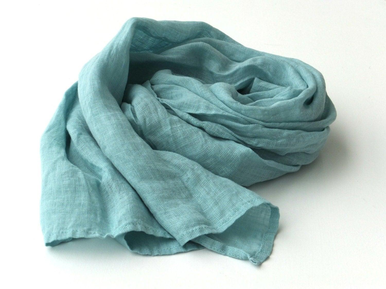 mint green scarf gauze linen lightweight wrap by lolitastas