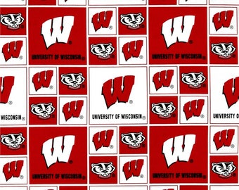 University of Wisconsin Badgers fabric, University of Wisconsin fabric, badger fabric, Wisconsin badger fabric