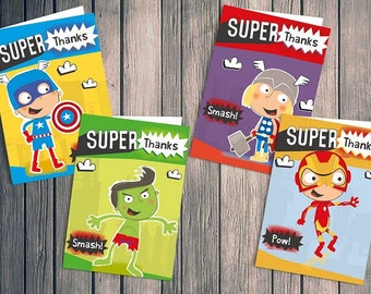 Children's Superhero Avengers Thank You Cards 28 pack inc envelopes