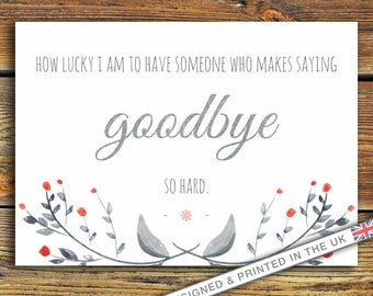 How Lucky I Am To Have Someone Who Makes Saying Goodbye So Hard Quote PRINT. Beautiful Goodbye/Leaving Gift. Winnie The Pooh. AA Milne Quote