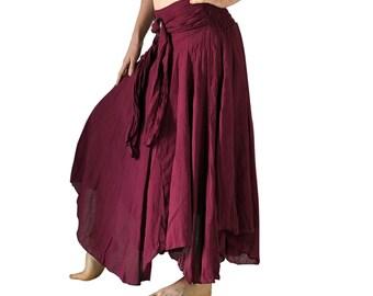 COCONUT SKIRT LONG Burgundy - Renaissance Clothing, Medieval Skirt, Pirate Costume, Peasant, Belly Dance, Gypsy, Burning Man, Summer,