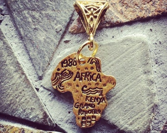 Antique Gold Vintage Inspired Metal Africa Pendant and Antique Gold Tribal Bail