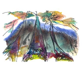 Witchy Trees, Art Print, Abstract Landscape