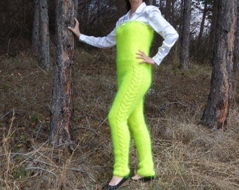 New Hand Knit Mohair Pants,Sexy Union Suit,Neon Yellow,Thick and Fuzzy,Handcrafted