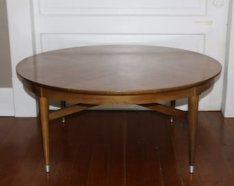 Modern Round Wood Coffee Table with Tapered Legs