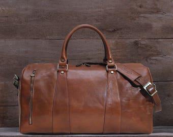 """Leather Duffle Bag 21"""" / Floto 1412NL / Travel Bag / Leather Sports Bag / Cabin Travel Bag / Weekender  / Overnight Bag / Leather Bag"""