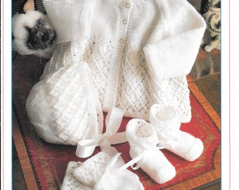 Very pretty babies knitting pattern for jacket, bonnet, mitts, bootees in 4 ply.  PDF pattern sizes 18 ins & 20 ins 3-6 mths and 6 - 12 mths