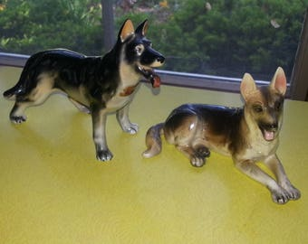Vintage Set of TWO 1950s Napco and Consco Hand Painted German Shepherd Dog Figurines