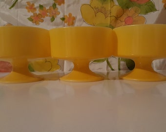 Yellow Federal Dessert Cups Set of 3