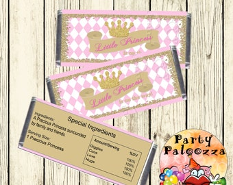 Printable pink and gold princess baby shower candy bar wrapper