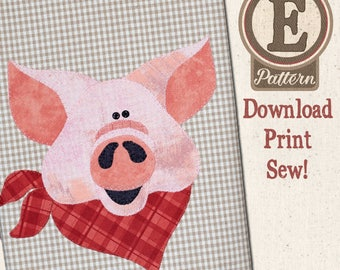 Pig E-patternlet for Tea Towel