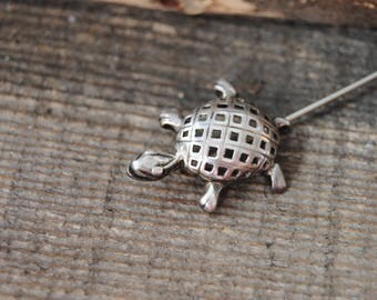 Sterling Silver Turtle Pin Stick Pin Hat Pin Brooch Tortoise