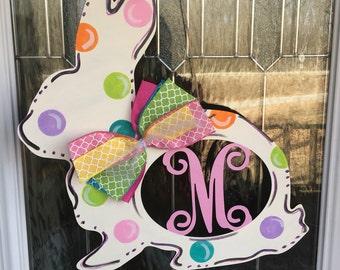 Monogram door hanger, monogram bunny door hanger, monogram rabbit door hanger, easter door hanger, easter door decor, easter, bunny