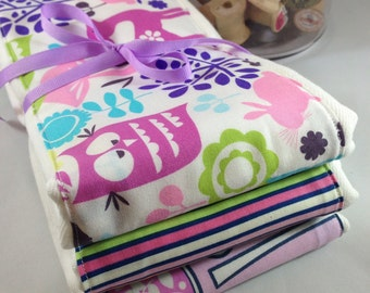 Burp cloths, forest, deer, owl, rabbit, baby girl, tree, baby shower