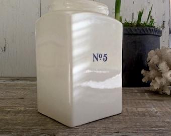 Antique white ironstone jar, transferware jar