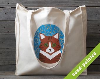 cat canvas bag / tabby orange cat / cat tote bag/ cat eco bag /  canvas tote bag/ cat handbag/ handbag/ cats/ eco bag/ cat / tote/ bag