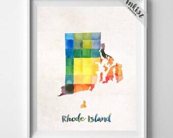 Rhode Island Map Print, Providence Print, Rhode Island Poster, Newport Map, Watercolor Painting, Wall Decor, Travel, Christmas Gift