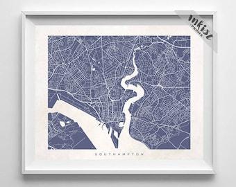 Southampton Map, England Print, Southampton Poster, England Art, Nursery Posters, Modern Decor, Dorm Decor, Home Decor, 4th of July