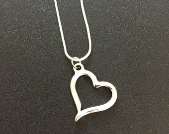 """Silver Heart Necklace Open Heart Pendant Silver Heart Charm on 20"""" silver snake chain Wedding Bridesmaid jewelry gift"""