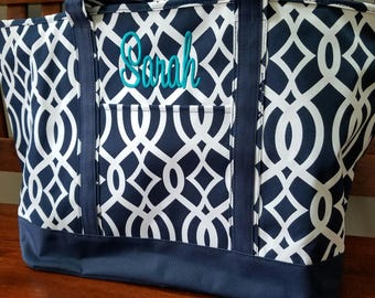 Monogrammed Totes ---JUMBO SIZED  /Organizer Tote /  Great Gift Idea!