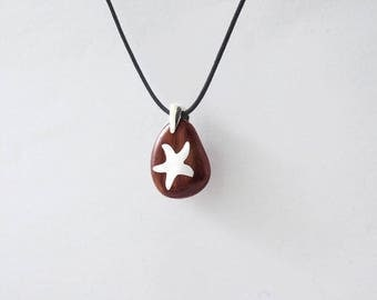 PENDANT STARFISH BEAN-Shaped Wooden High quality Handmade Jewelry by Silver 925 and Rosewood