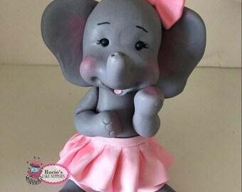 Baby Girl Elephant Cake Topper