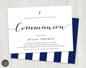 First Communion Invitation | Boy or Girl Communion Invitations | DIY | Printable 7x5