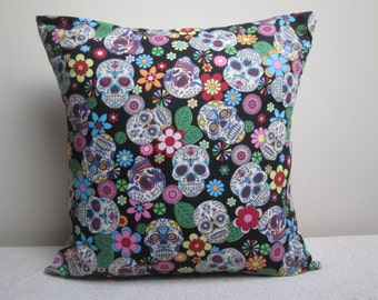 "Mexican Day Of The Dead Gothic Sugar Skulls Cushion Cover Pillow Cover Black 16"" Ready To Ship"