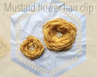 Mustard chiffon flower hair clip. Mustard flower hair accessory. Burnt edge chiffon flower. Special occasion hair accessory. Girl hair clip.
