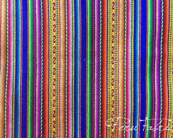 PERU FABRIC Bluish Striped by meter / Aguayo fabric /  Tissu Peruvien / Peruvian clothing / Handmade Peru / Cusco Blanket / patterns