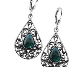Eilat Stone Earrings, Silver earrings , Silver Dangle Earrings, Silver Filigree, Gifts for Her