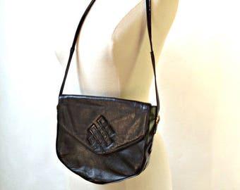 Handbag CORALIE - Black leather