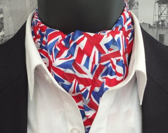 Cravat, cravats for men, ascots for men, Union Jack cravat, reversible cravat, blue and white spot cravat