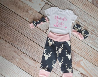 Personalized Baby Deer Antlers/Horns Bodysuit, Hat, Scratch Mittens Set with Navy and Pink