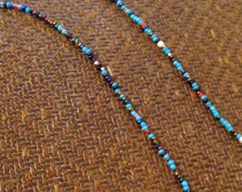 """Turquoise Seed Bead Necklace 30"""""""