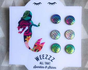 Set of 3 Mermaid Scale Earrings