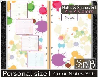 SnB Personal - Color Notes and Shapes set - Printable Inserts for Filofax / Ring Binders